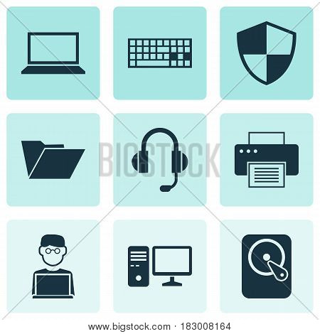 Notebook Icons Set. Collection Of Printing Machine, Defense, Earphone And Other Elements. Also Includes Symbols Such As Headphone, Microphone, Keyboard.