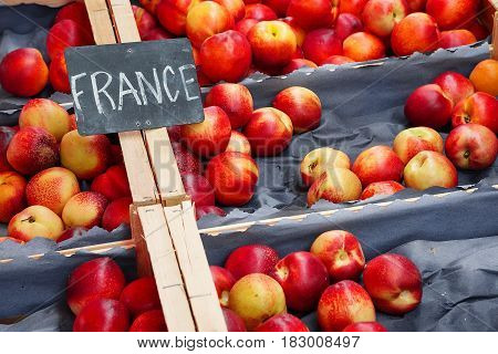 Nectarines Form France For Sale At A Local Market