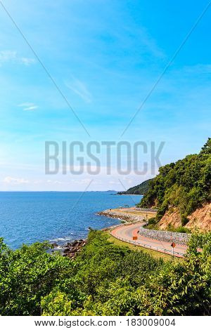 Curve Road With Sea View And Blue Sky At Khung Wiman Beach, Chantaburi Thailand