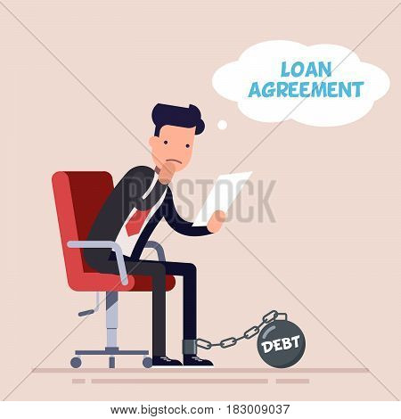 Businessman or manager sits on an office chair and reads a loan agreement. Big financial debt. Kettlebell chained to the foot of a sad man. Flat character isolated on background