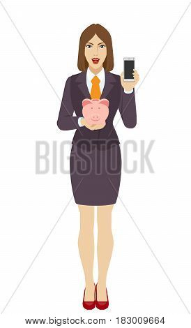 Businesswoman holding a piggy bank and mobile phone. Full length portrait of businesswoman character in a flat style. Vector illustration.