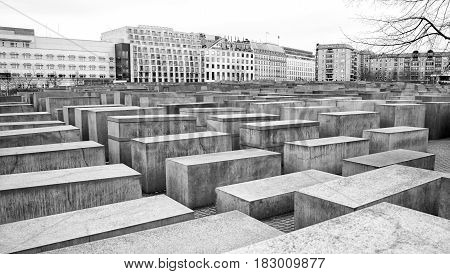 BERLIN GERMANY - APRIL 6: Holocaust memorial in Berlin on April 6 2017 in Berlin