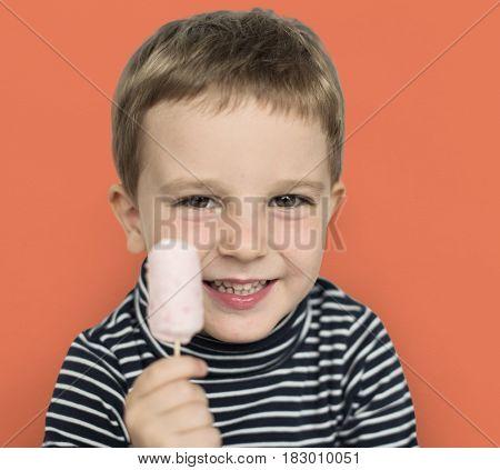 Little Boy Kid Adorable Cute Portrait Ice Pop Sweet