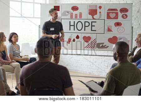 Blood Donation Placard Meeting Graphic