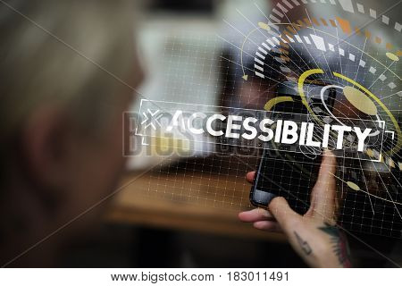 Woman using smart phone with accessibility word graphic popup