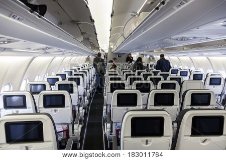 Cologne Fl USA - March 9 2017: Interior of the Eurowings aircraft Airbus A 330. Cologne Germany