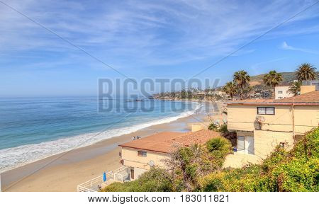 High tide on Main Beach in Laguna Beach California in Spring