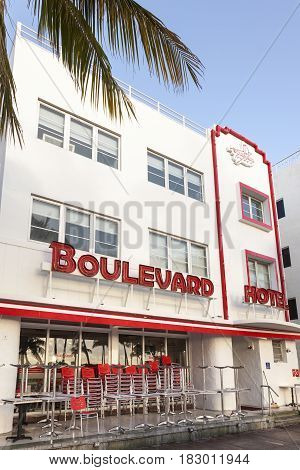 Miami Fl USA - March 10 2017: Exterior of the Art Deco Boulevard Hotel in Miami Beach. Florida United States