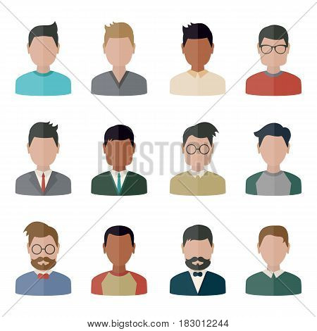 Collection people icons in flat style. Persons male different nationality.