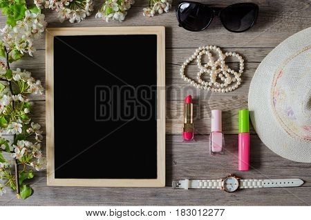 For women, the morning begins with a good mood, cosmetics and stylish accessories