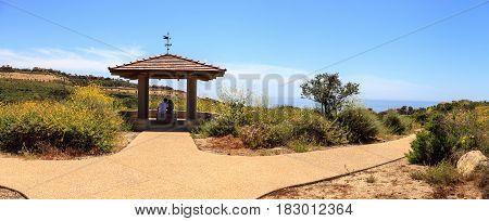 Gazebo over Newport Coast hiking trail near Crystal Cove California in spring