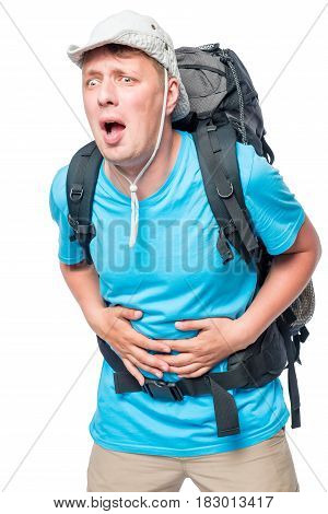 Tourist With Diarrhea Experiencing Abdominal Pain In A Hike Against A White Background
