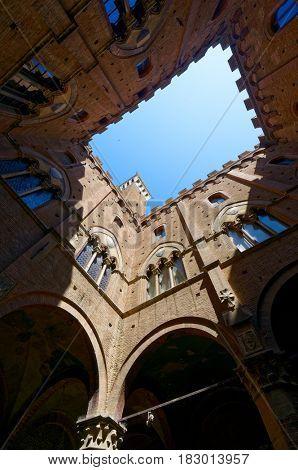 Inner yard of  Palazzo Pubblico, Siena, Tuscany, Italy, wide angle shot