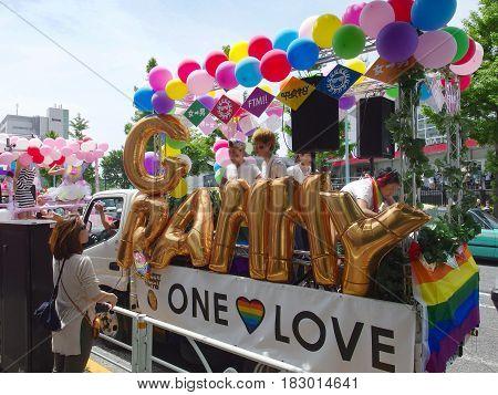 TOKYO JAPAN, May 8, 2016. TOKYO RAINBOW PRIDE PARADE, walking around SHIBUYA city to support gay rights.