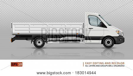 Flatbed truck template for car branding and advertising. Isolated lorry on transparent background. All layers and groups well organized for easy editing and recolor. View from right side.