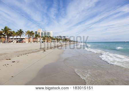 Hollywood Beach Fl USA - March 13 2017: Coastline at the Hollywood Beach Broad Walk on a sunny day in March. Florida United States
