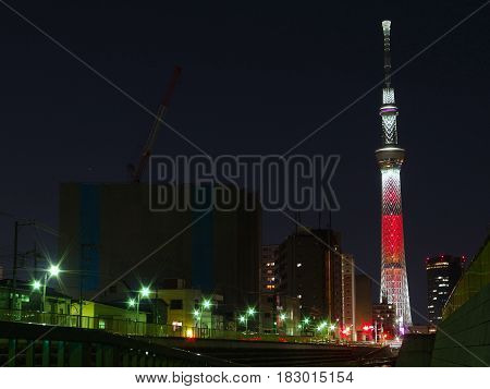 Tokyo Japan, December 12 2016. Tokyo sky tree tower illuminated red light prepare for 2017 New Year coming