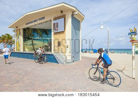 Hollywood Beach Fl USA - March 13 2017: Hollywood Beach Theatre at the Broadwalk on a sunny day in March. Florida United States