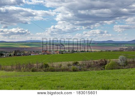 Rural landscape with horizon and fields under blue sky