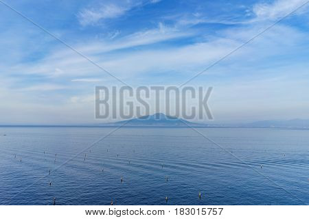 View of Vesuvio volcano with beautiful blue sky in the evening southern Italy.