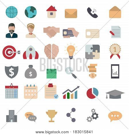Collection business icons. Business elements to use in web smart phone application etc. Flat style.