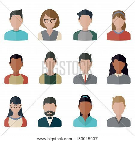 Collection people icons in flat style. Persons different nationality.