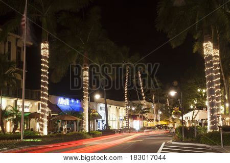 Naples Fl USA - March 21 2017: Street in the city of Naples illuminated at night. Florida United States
