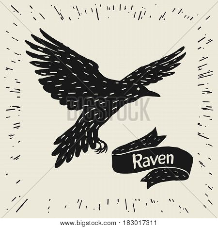 Background with black flying raven. Hand drawn inky bird and ribbon.