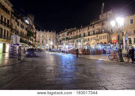 VERONA ITALY - APRIL 07: View of the Piazza delle Erbe the Market's square in Verona on April 07 2017