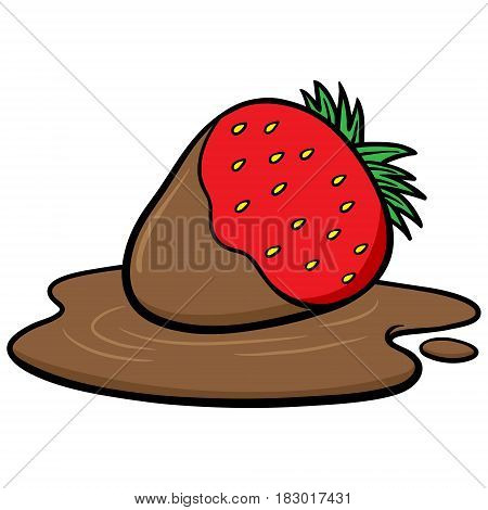 A vector illustration of a Chocolate dipped Strawberries.