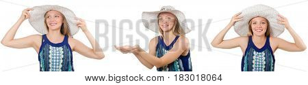 Collage of woman with panama hat isolated on white