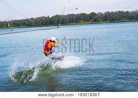 Wakeboarder In The Process Of Training