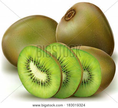 Kiwi fruits and sliced kiwi. vector illustration
