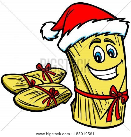 A vector illustration of a Christmas Tamale.