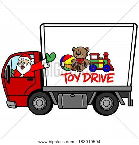 A vector illustration of a Toy Drive Truck.