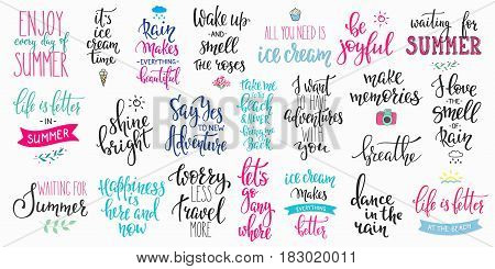 Hello summer lettering typography quote set. Calligraphy graphic design element. Hand written style. Simple vector brush sign. Be joyful Make memories Breathe Smell rain Travel Shine bright Adventure