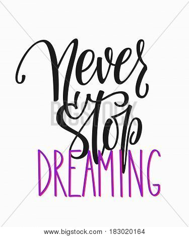Never stop dreaming quote lettering. Calligraphy inspiration graphic design typography element. Hand written postcard. Cute simple vector sign.