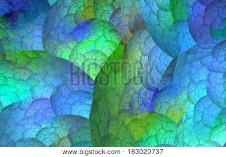 An abstract computer generated modern fractal design on dark background. Abstract fractal color texture. Digital art. Abstract Form & Colors. Plant cells. Practical biology
