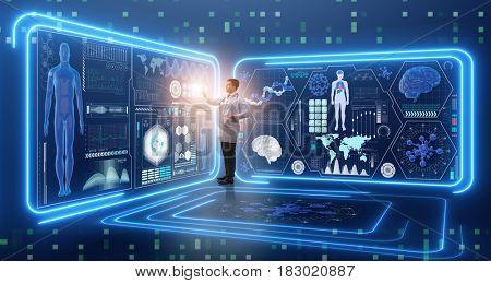 Man doctor in futuristic medicine medical concept