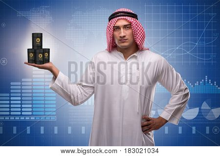 Arab businessman supporting oil price