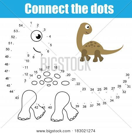 Connect the dots children educational drawing game. Dot to dot by numbers game for kids. Animals theme. Printable worksheet activity with dinosaur