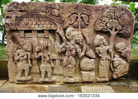 Stone sculpture and relief in Sukuh Temple, Central Java, Indonesia