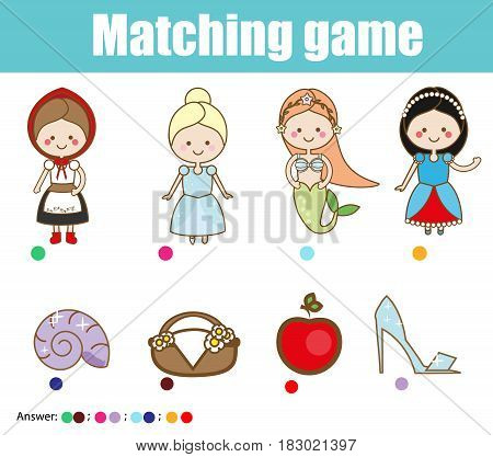 Matching children educational game. Match fairy tales princess characters with objects. Kids activity. Learning legends and folklore