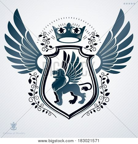 Luxury heraldic vector template. Vintage blazon composed with gryphon illustration and imperial crown