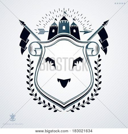 Luxury heraldic vector template. Vintage blazon wild lion illustration and medieval castle