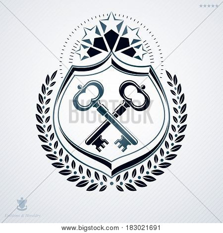 Luxury heraldic vector template. Vintage blazon created with pentagonal stars and security keys