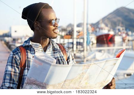 People, Lifestyle, Traveling And Adventures Concept. Man On Quay Surrounded By Yachts And Ships In F