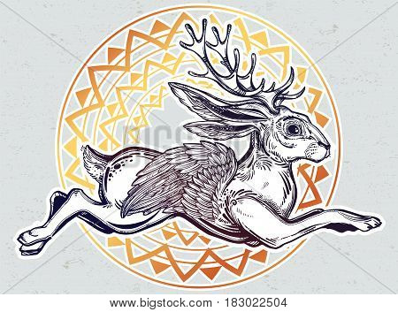 Flying winged jacalope magical creature, horned rabbit in American folklore. For tattoo, t-shirt, fantasy card, poster idea. Ethnic design, mystic tribal boho symbol. Isolated vector illustration