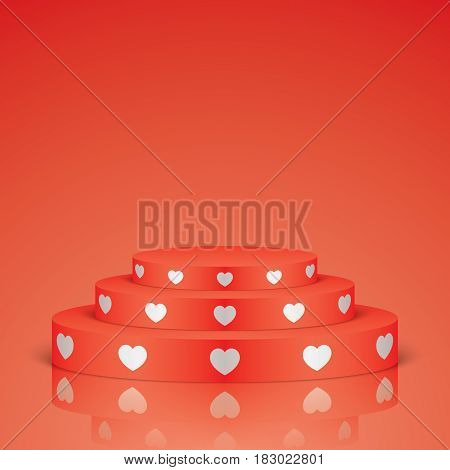 Red vector stage with stairs and white hearts, isolated on background. Oval romantic scene for your valentines day design decoration.