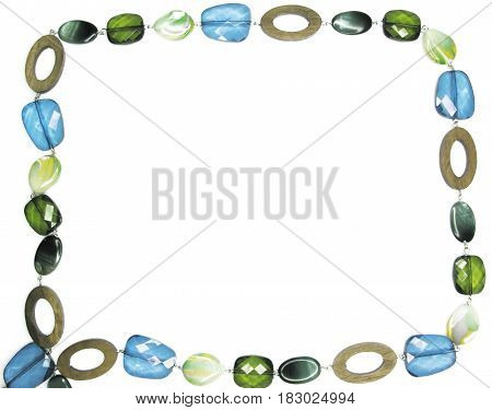 frame of colored beads with crystals isolated on white background